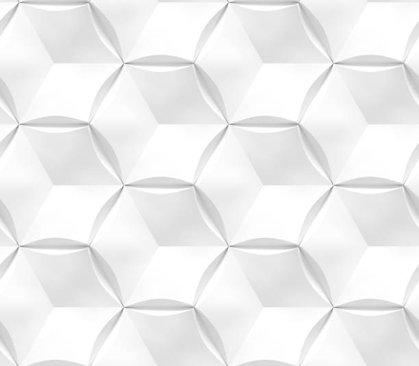 white seamless geometric texture. origami paper style. hexagonal elements. 3d rendering background. - two dimensional shape stock photos and pictures