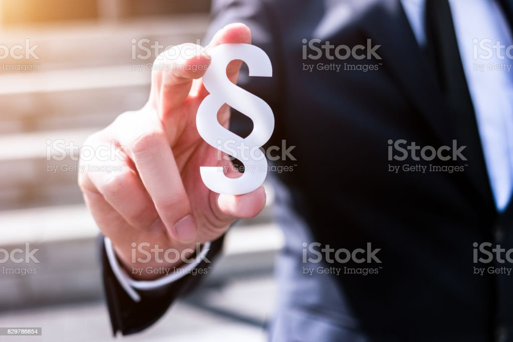white section sign hold by business man stock photo