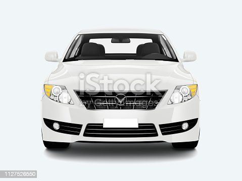 Front view of a white sedan in 3D