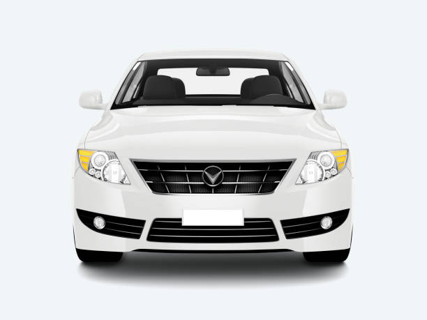 white sedan car - front view stock pictures, royalty-free photos & images