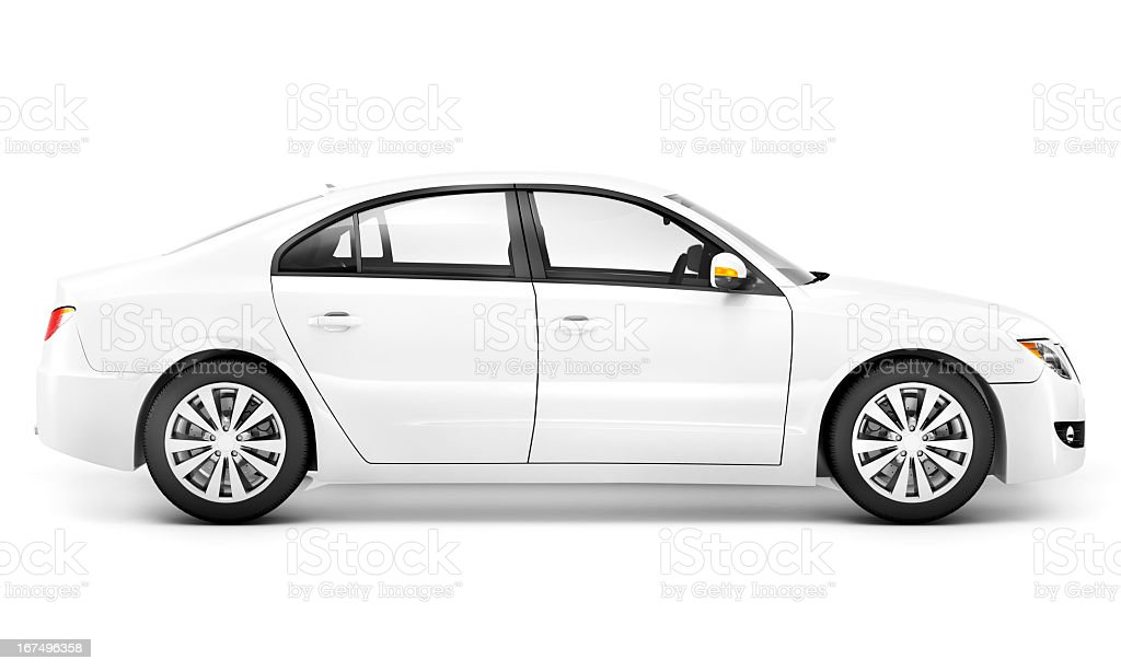 White sedan from passenger side view stock photo
