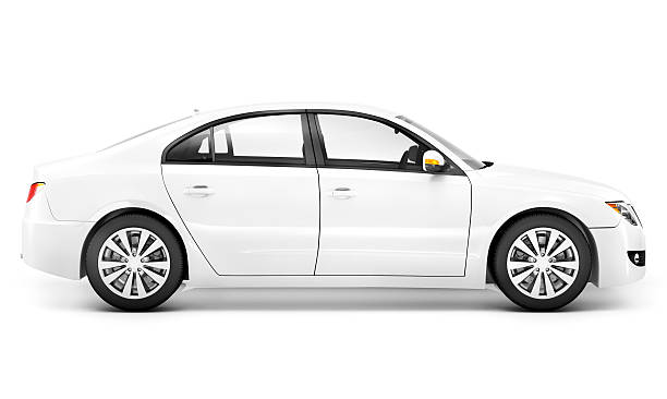 white sedan from passenger side view - side view stock photos and pictures