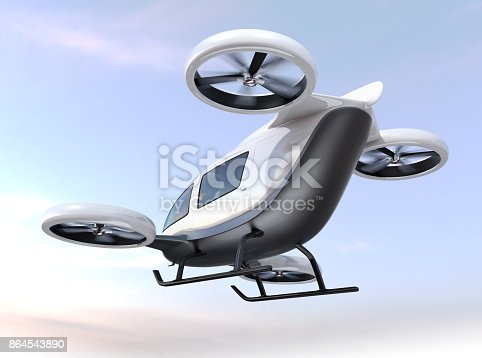 istock White self-driving passenger drone flying in the sky 864543890