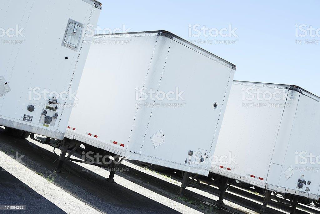 White semi trailers stock photo