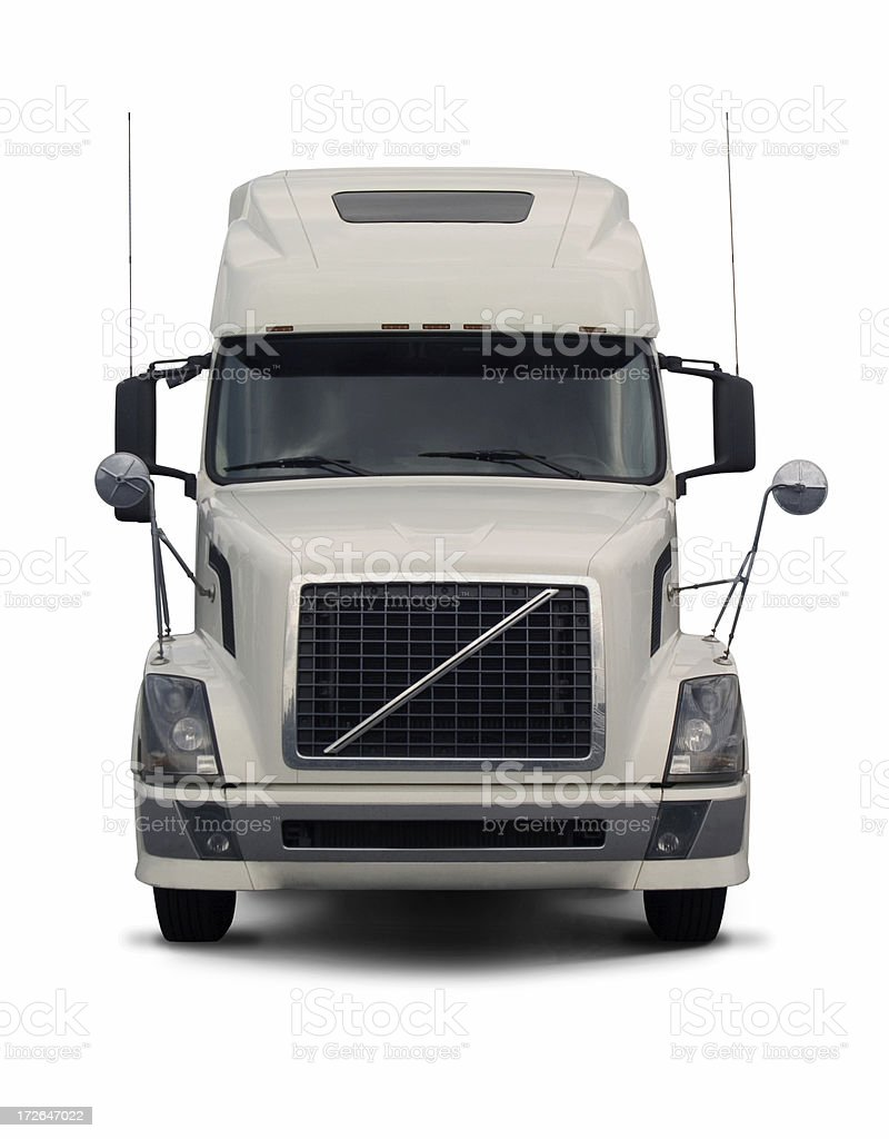 white semi truck  2 stock photo