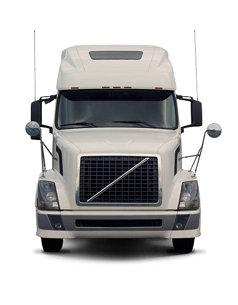 white semi truck  2 - front view stock photos and pictures