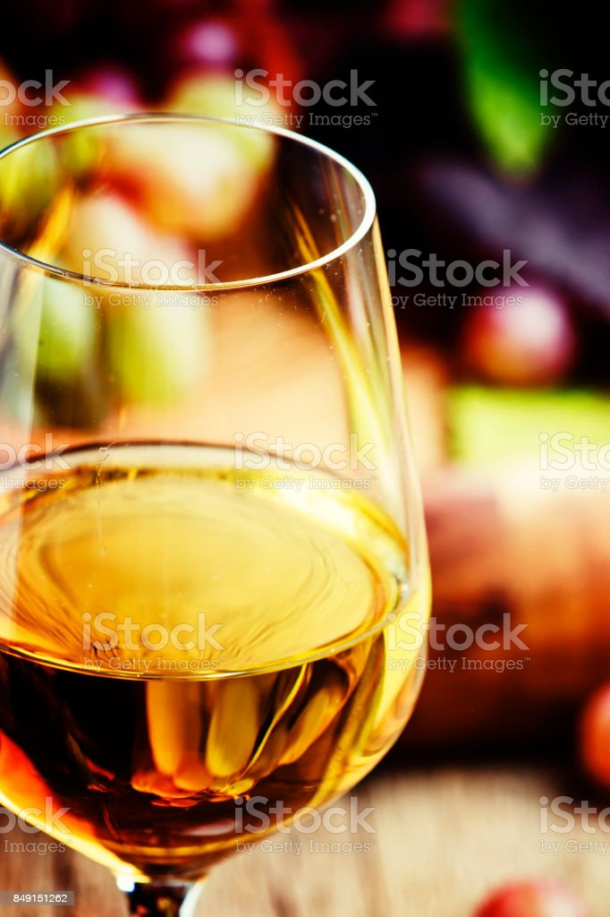 White semi-sweet wine from riesling grapes stock photo