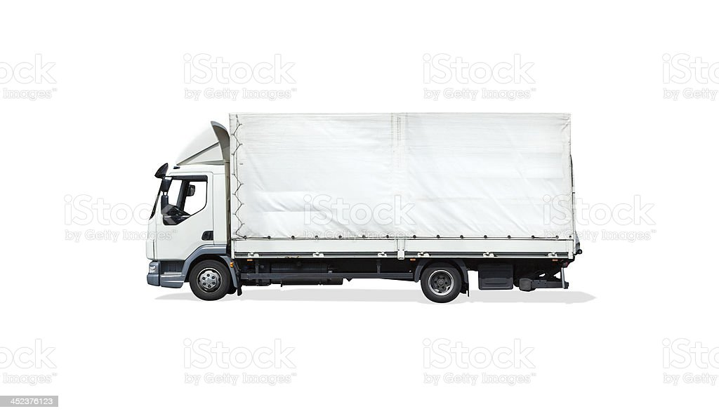 White semi-truck ready for branding up royalty-free stock photo