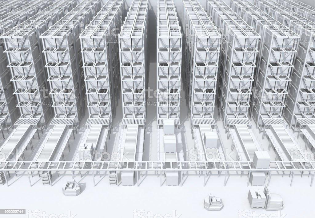 Schattierung von modernen automatisierten Logistikzentrum Innenraum weiß – Foto