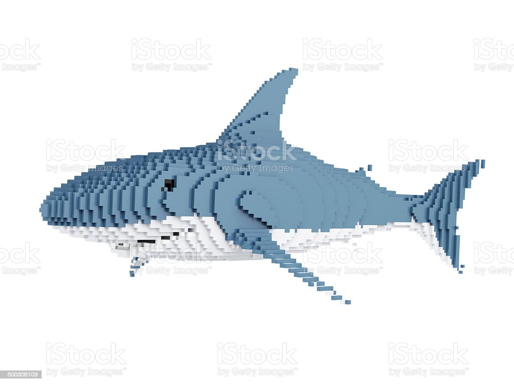 White Shark in Pixel Style isolated on white background stock photo