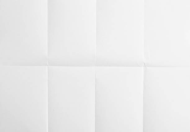 weißes blatt papier gefaltet in acht - faltpapier stock-fotos und bilder
