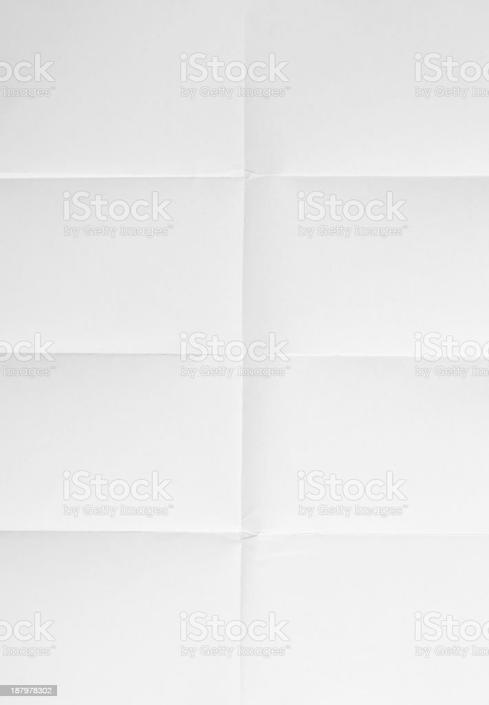 white sheet of paper folded in eight stock photo