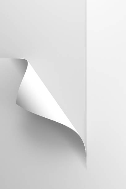 white sheet of paper with corner curl, 3d rendering stock photo