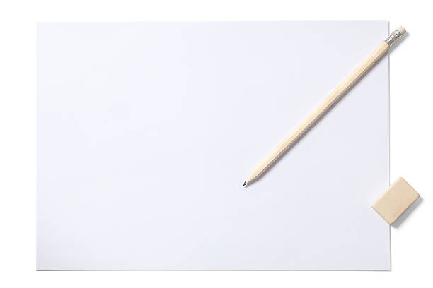 White Sheet Pencil and Eraser with Clipping Path stock photo