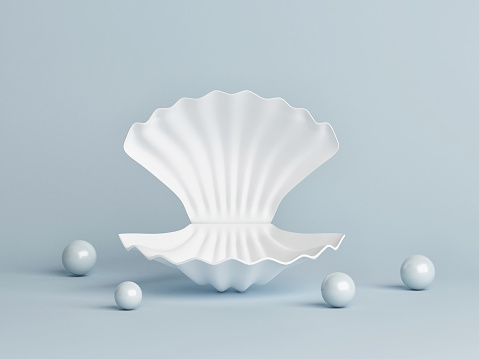 White shell with pearls, product presentation, blue background, 3d render, 3d illustration