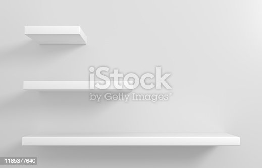 istock White shelves for goods showcase 1165377640