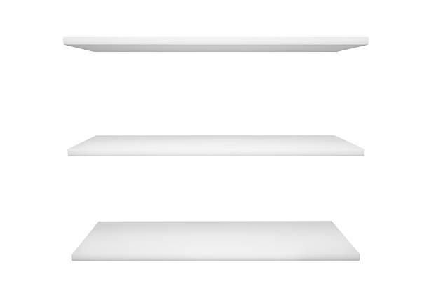 white shelves isolated on white background stock photo