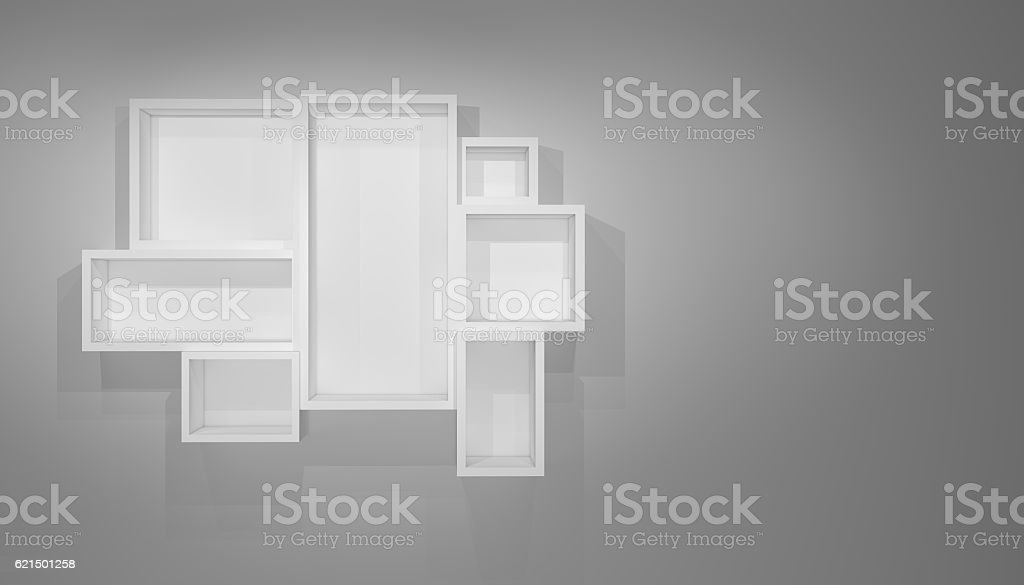 White shelves on gray wall with shadow foto stock royalty-free