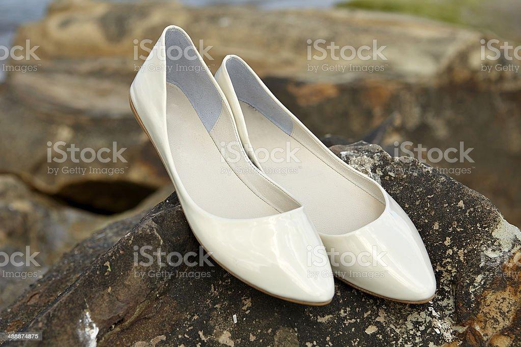 White Shine Women Shoe royalty-free stock photo