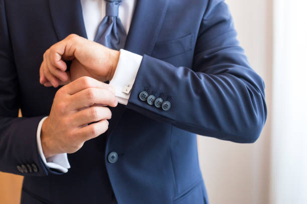 White shirt and cufflink stock photo