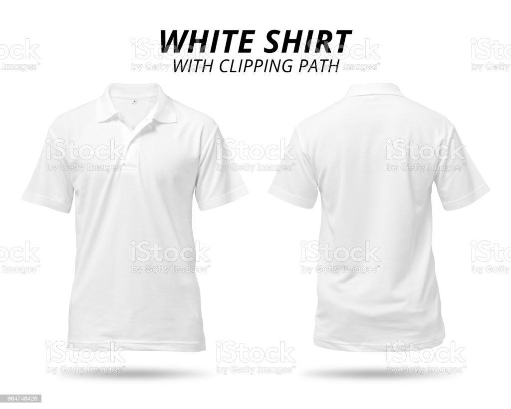 White shirt isolated on white background. Blank polo shirt for design. ( Clipping path ) royalty-free stock photo