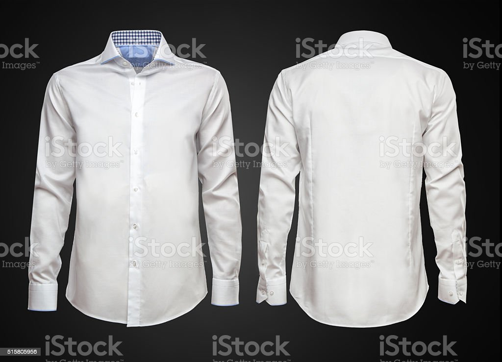 White shirt on dark background. Businessman clothes stock photo