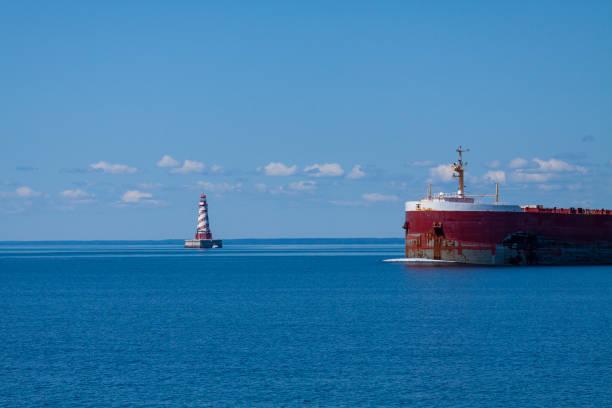 White Shoal Lighthouse stock photo