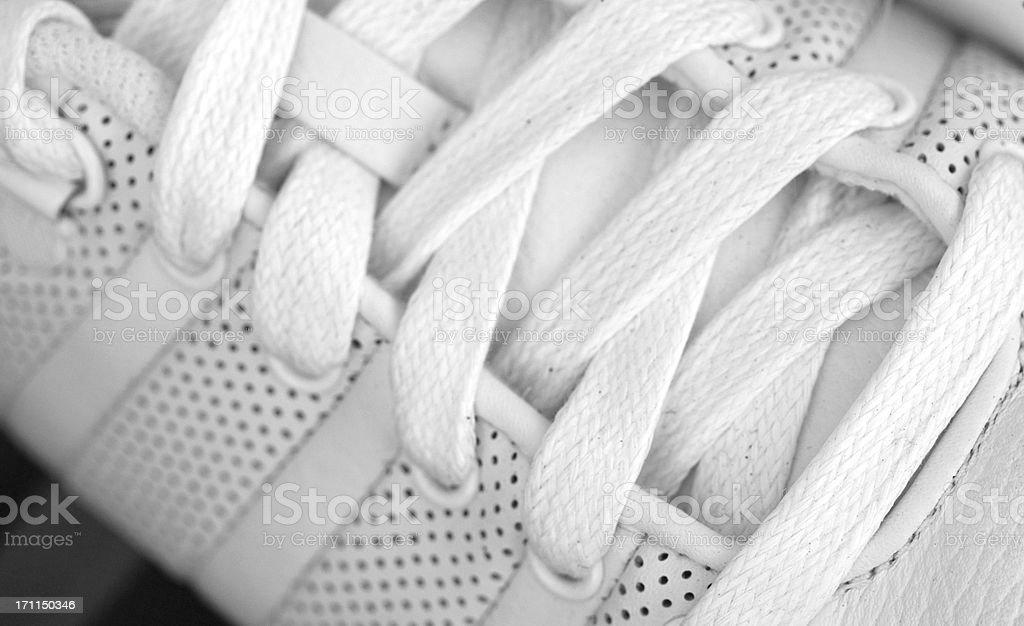 white shoelaces stock photo
