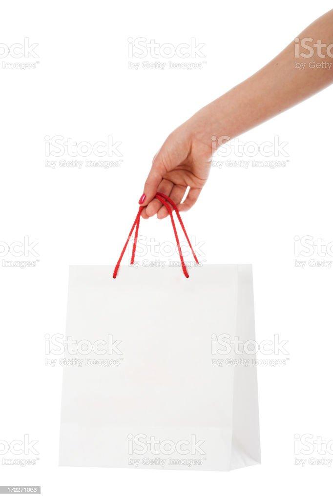 White shopping bag blank slate royalty-free stock photo