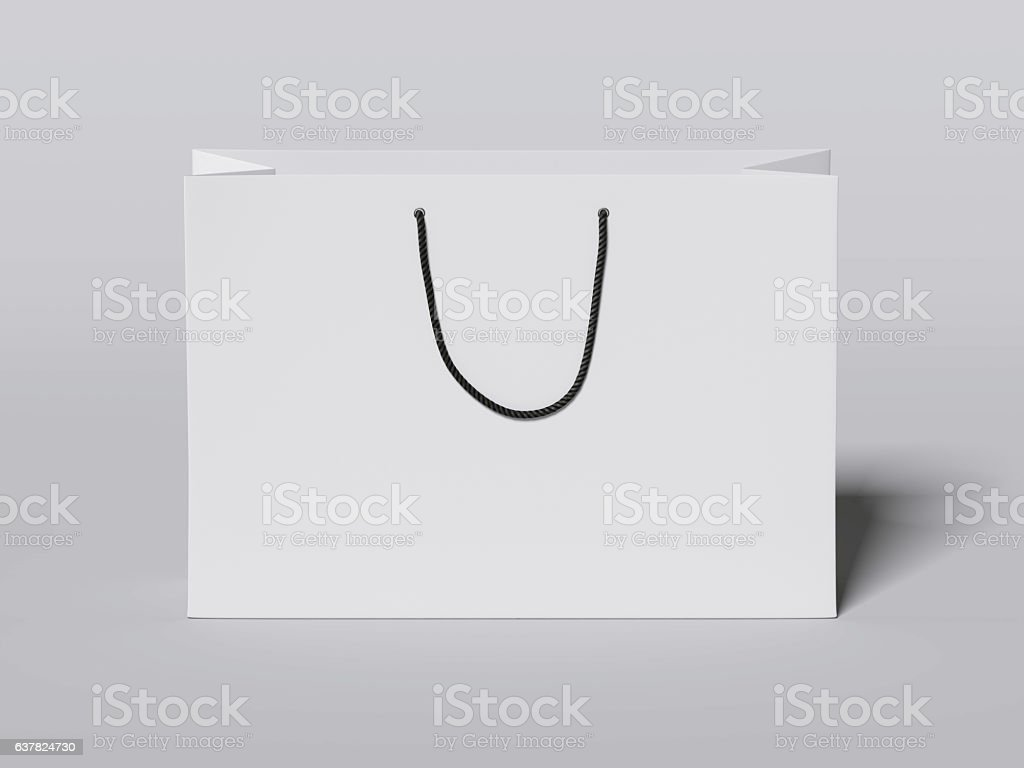 White shopping bag with black handles. 3d rendering stock photo
