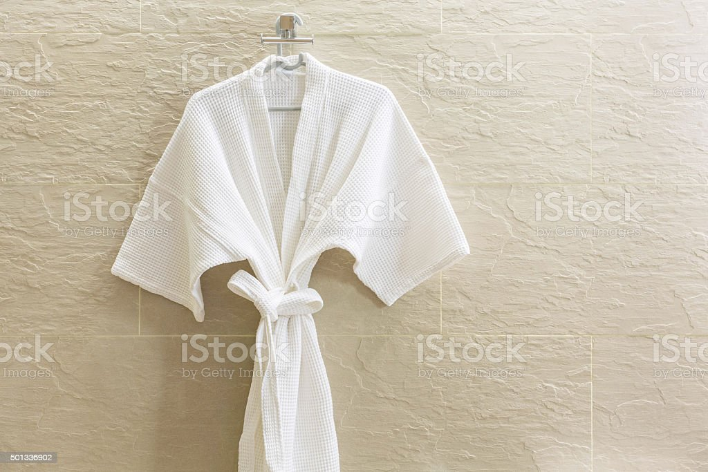 White shower gown stock photo