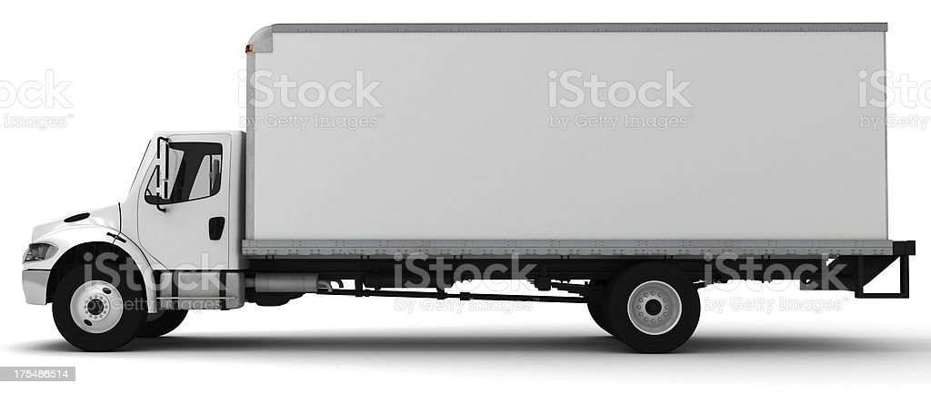 3D white side view of a delivery truck stock photo