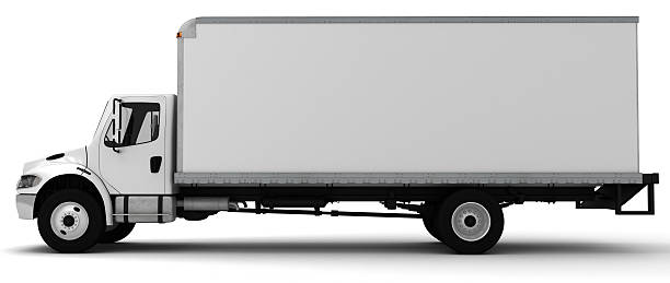 3d white side view of a delivery truck - side view stock photos and pictures