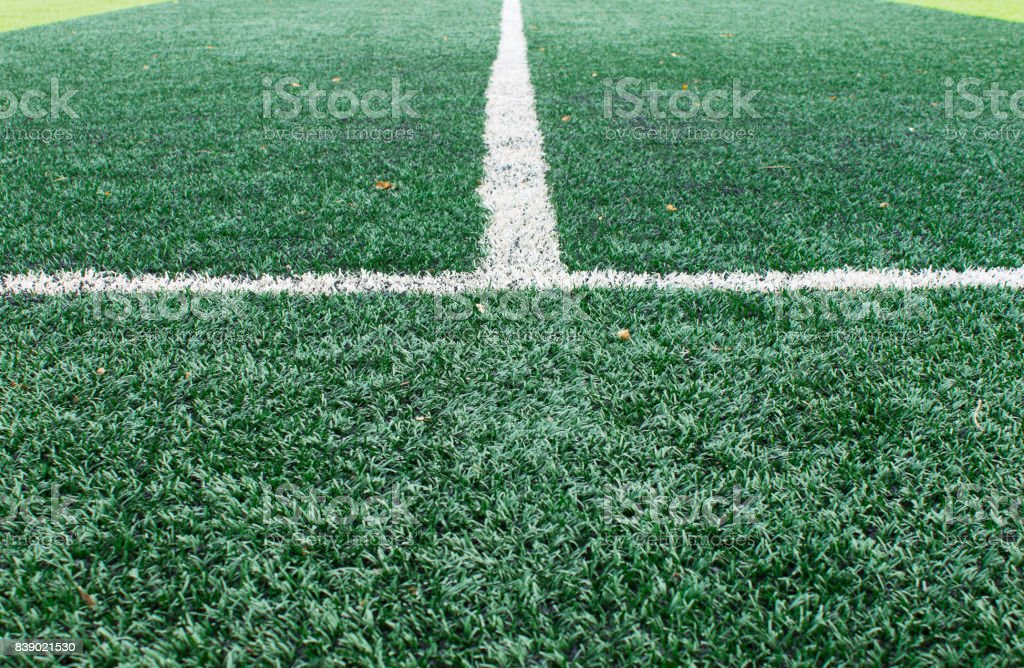White Sideline on Football Field stock photo