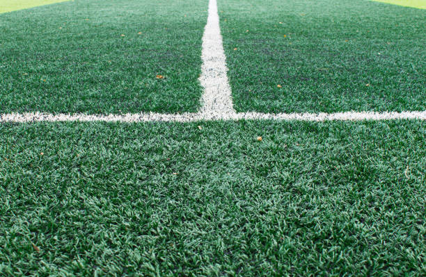 White Sideline on Football Field stock photo
