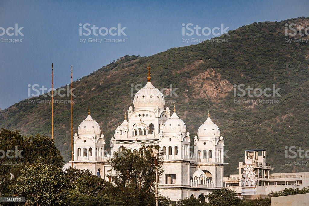 White Sikh temple in Pushkar Rajasthan India stock photo