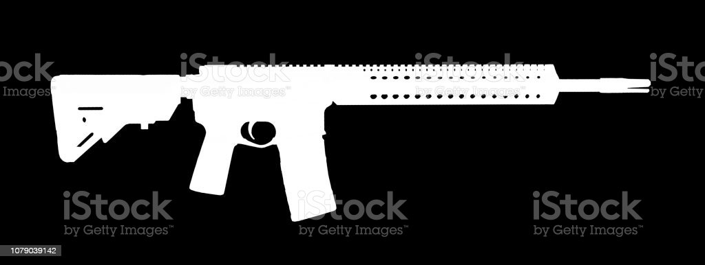 White silhouette of an AR-15 stock photo