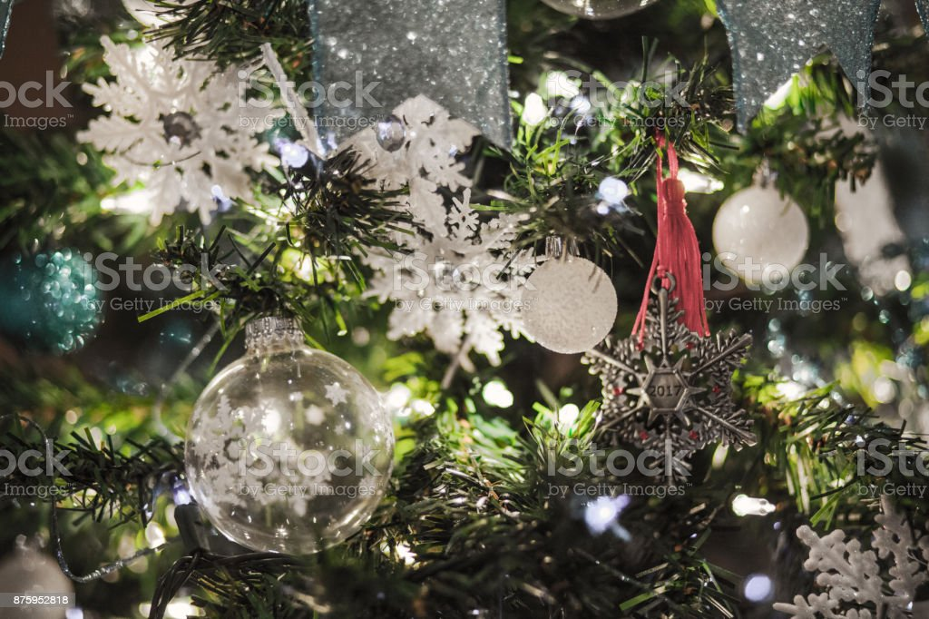 White Silver and Green Decorated Christmas Tree stock photo