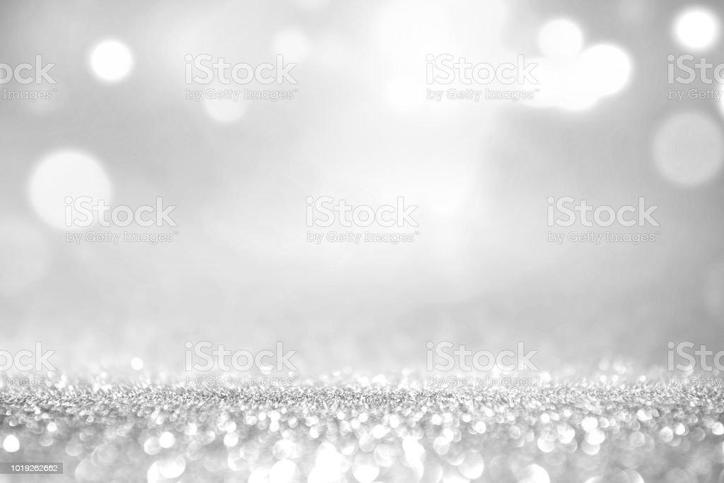 Weiß silber Glitter und grau Lichter Bokeh abstrakten Hintergrund. – Foto