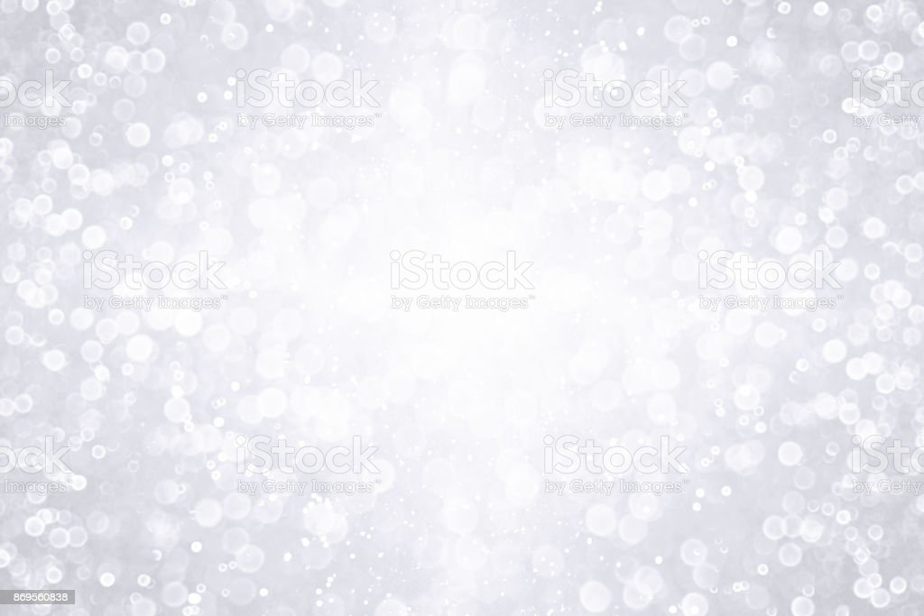 White Silver Glitter Sparkle Background Party Invitation stock photo