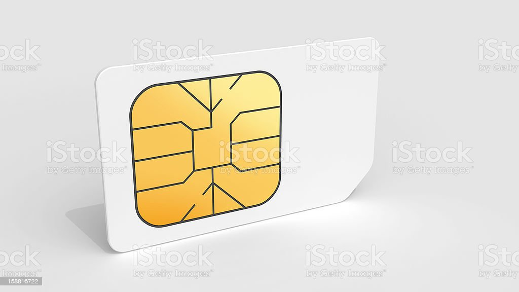 White Sim card on light gray background with soft shadow stock photo