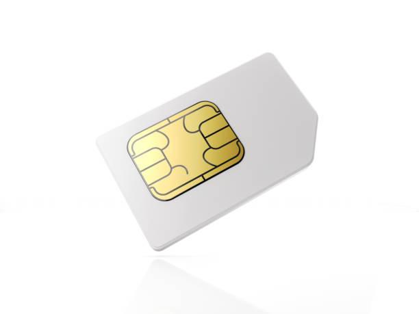 White Sim Card On White Background stock photo