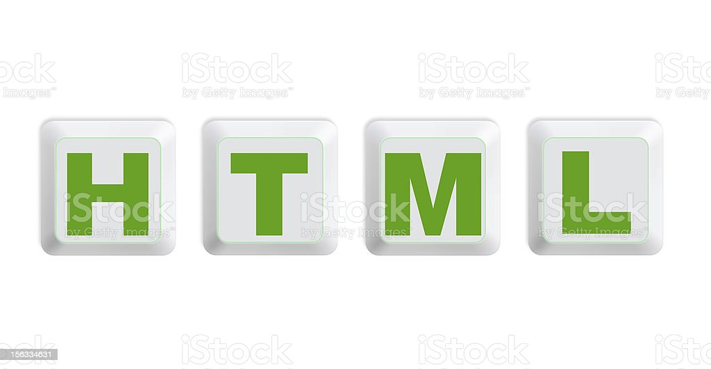 White single computer keyboard buttons with text HTML royalty-free stock photo