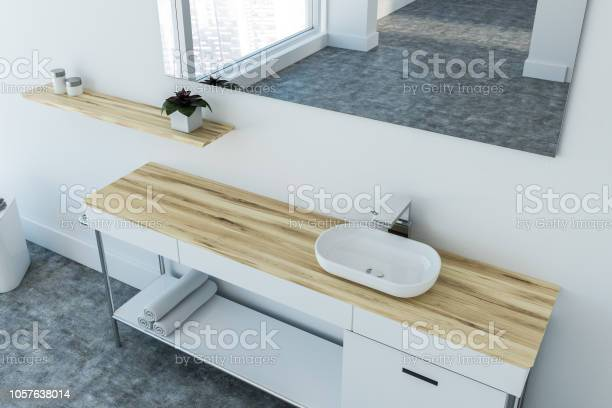 White Sink Vanity Unit In Modern Bathroom Top View Stock Photo Download Image Now Istock