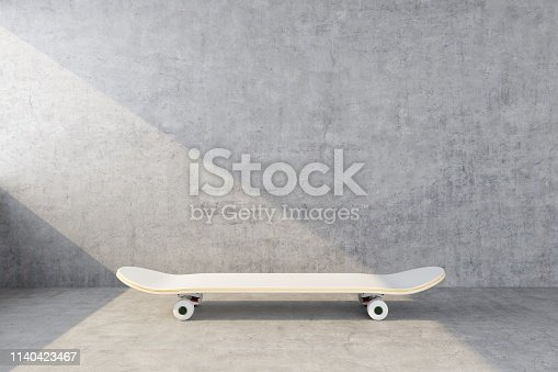 white skateboard on concrete wall background. 3d rendering