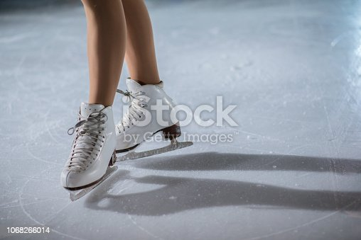 istock White skates on the ice rink 1068266014