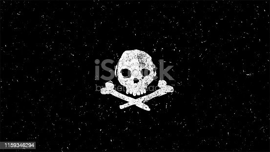 White skull shape on black. Computer generated hand-drawn style illustration