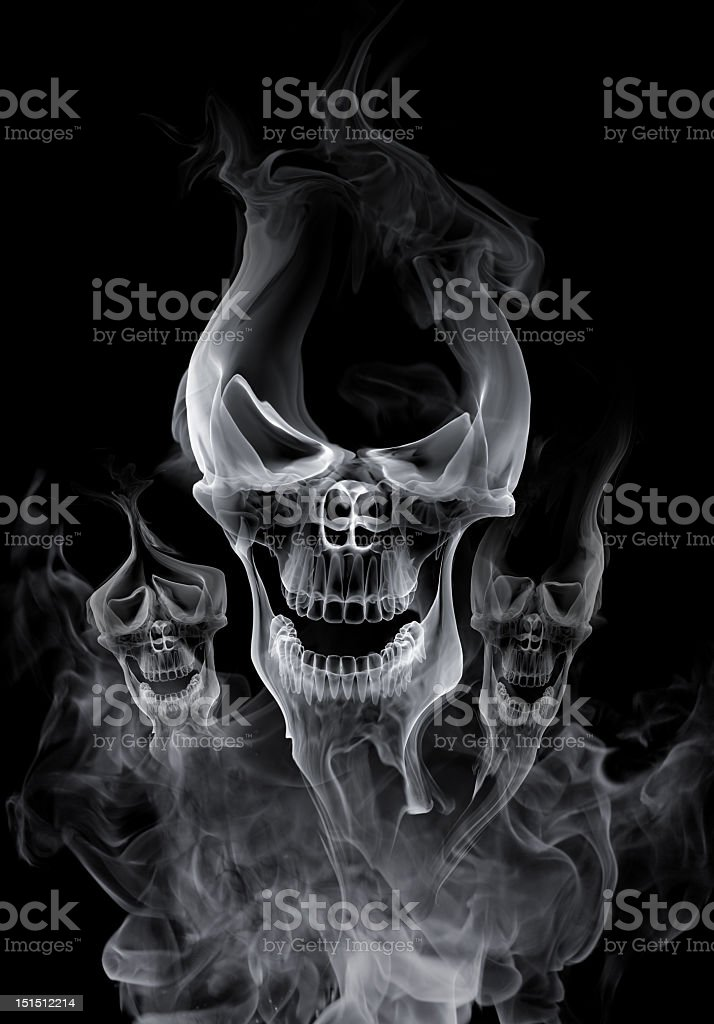 62d1558aec White Skulls Made From Smoke Against A Black Background Stock Photo ...