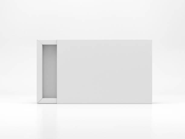 vit glidande låda mockup i vit studio - remmar godis bildbanksfoton och bilder