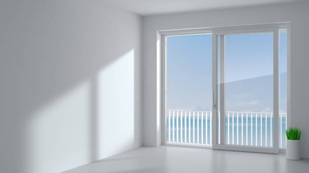 White sliding door in the room Sliding exterior door with two white shutters. Species panoramic window and terrace. 3d Illustration pvc stock pictures, royalty-free photos & images